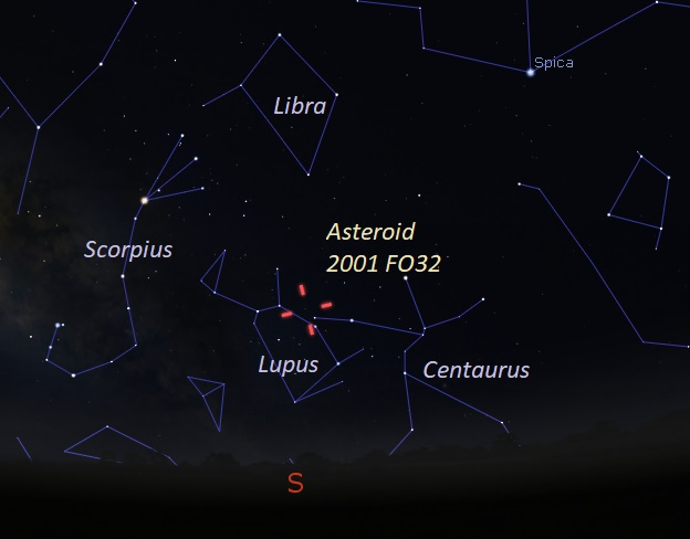 Location Of Asteroid 2001 FO32 on March 20 2021 at 345 AM ET as Seen From Southern US widefield view